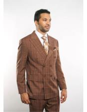 ID#DB22456 Striped Pattern Double Breasted Light Brown Peak Lapel Button Closure Suit