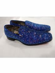 ID#DB24883 Slip On Style Amazing Sequin Glitter Royal Stylish Dress Loafer Mens Prom Shoe