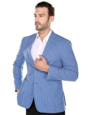 Blue Textured Pinstripe Slim