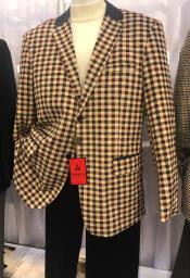 Button Tan/Brown Gingham Pattern