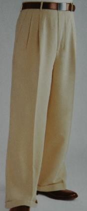 ID#MF3876 Tan ~ Beige Wide Leg Dress Pants Pleated creased baggy dress trousers