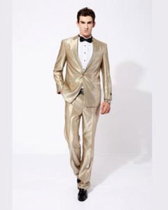 ID#JR69W Champagne ~ Tan Wedding / Prom Shiny Sharkskin Two Buttons Inexpensive ~ Cheap ~ Discounted Clearance Sale Extra Slim Fit Prom Suit