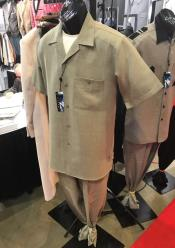 ID#DB20444 Single Breasted Tan Short Sleeve Walking Suits Shirt & Pants