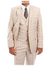 ID#DB21255 Prom ~ Wedding Groomsmen Tuxedo Taupe 3-Piece Check Suit Set With Matching Shirt & Tie