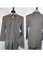 ID#VJ17122 Landi 2917v Taupe 6 Paired Buttons 3 ~ Three Piece Notch Lapel Wide Matching Vested Suit