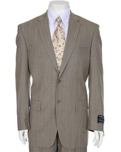 ID#TP373 Light Taupe Stripe ~ Pinstripe 2-button Dark color black Single Buttons Peak Collared Wool fabric Cheap Priced Fitted Tapered cut Suit