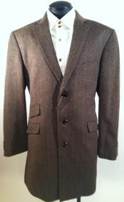 ID#HT7390 Luxurious Wool fabric & Cashmere Taupe Herringbone Tweed Overcoat Mens Car Coat - Mid length Wool Coat