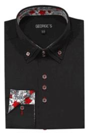 ID#DB15764 High Collar 3 Button Black George Cheap Fashion Clearance Shirt Sale Online For Men