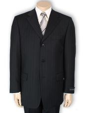 Three Button Black Pinstripe Suit