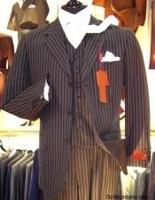 ID# OUS132 Chalk pronounce visible Pinstripe Vested  3 ~ Three Piece suit Available in Two buttons only