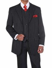 ID#NM499 Mens mafia suit 3 Button Vested Bold Chalk Stripe Black/White 3 ~ Three Piece 1920s Mens Fashion Clothing 1930s 50s Outfit Costume Suit