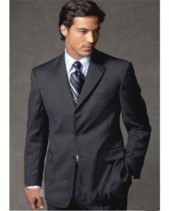 Three Button Black Wool Suit