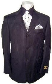 Three Button-Black Wool Suit