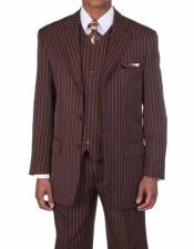 ID#NM502 Mens Brown/White 3 Button Vested Bold Chalk Stripe 3 ~ Three Piece 1920s Mens Fashion Clothing 1930s 50s Outfit Costume Suit