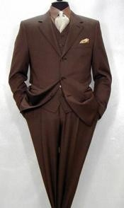 ID#MXB129 $1295 Tesroy Three buttons Superior fabric 150's Wool fabric  3 ~ Three Piece Feel Extra Man Made Fiber~Rayon Vested Coco Chocolate brown Side Vents