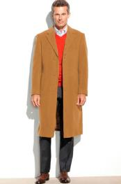 ID#DB21879 Camel 3 Button Notch Lapel 95% Wool Overcoat ~ Long Mens Dress Topcoat -  Winter coat