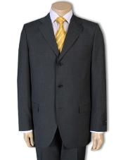 ID# GB77 3/Four buttons Dress Business Masculine color Superior Wool fabric year round Suit Dark Charcoal - Color: Dark Grey Suit