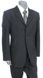 Three Button Charcoal Gray Suit