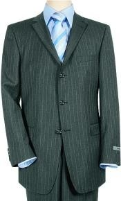 ID# ZT44 Superior fabric 120 Wool fabric & Cashmere Three buttons Charoal Gray & White Pinstripe Striped crafted professionally italian fabric Suit