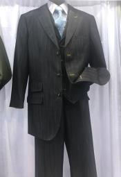 ID#DB20462  3 Button Dark Charcoal High Fashion Vested 3 ~ Three Piece Suits