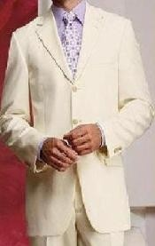 ID# 3BW9 Cream - Ivory - Off White Superior fabric Light Weight Four Season Wedding Suits For Men For Sale