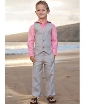 ID#DB24532 3 Button  Gray Linen For Beach Wedding outfit Vest & Pants