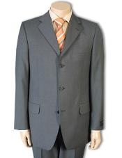 Three Button Gray Wool Suit