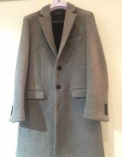 ID#DB18843  3 Button Light Grey Notch Lapel Cashmere Overcoat