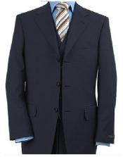 ID#VT228 Dark navy blue colored Vested  3 ~ Three Piece crafted professionally Italian Fabric crafted professionally Man Made Fiber~Rayon ( Wool fabric Feel) Three buttons