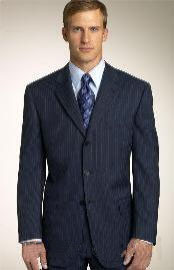 Three Button Navy Blue Suit