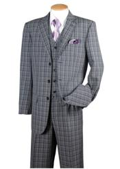 Men's Navy Suits Plaid