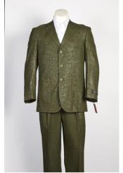 ID#NM272 Mens Dark Olive  3 Button Shiny Paisley Floral ~ Flower Suit