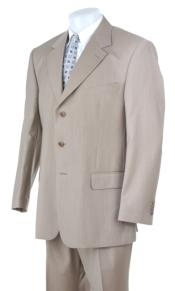 ID#MU203 Stonep-Sand-Khaki-Light Tan - Beige Light Weight Suit Three buttons