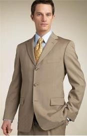 ID# Zt8   Superior fabric 140's Wool fabric Three buttons Tan color Suits for Men