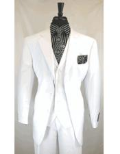 ID#DB23534 3 Button  Notch Lapel White Pleated Pant 3 ~ Three Piece Wedding Cheap Discounted SuitFor Groom For Sale