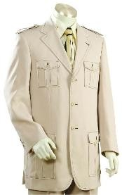ID#DS4561 Three buttons Cane Beige Suit