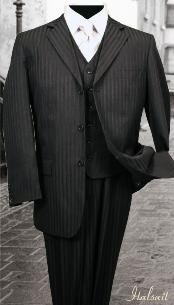 ID#RH787 Nice 3PC Three buttons Dark color black Tone On Tone Stripe - Pinstripe 3 - Three Piece suit