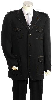Exclusive Three buttons Dark color black Safari Military Style Zoot Suit