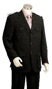 High Fashion Three buttons Dark color black Safari Military Style Zoot Suit