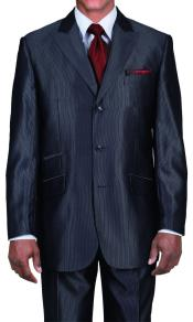 ID#PNK17 Ticker Pocket Three buttons Peak Collared Dark color black Sharkskin Shiny Metallic Jacket & Pants Suit
