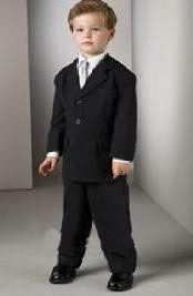 ID# RJN871 Children Kids Boys Basic All Solid Outfit Plain Dark Black Wedding Funeral Three buttons Worsted Superior Light Weight rayon fabric feel Man Made Fiber Toddler Suit