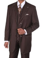 Classic pronounce visible Chalk Gangster Stripe Three buttons Pinstripe 3 Piece Suits for Men w/Vest Coco Chocolate brown with White Stitching