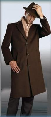 ID#Sentry Choclate Coco Chocolate brown Topcoat - overcoats for men 45\  Three buttons Style Wool&Cashmere