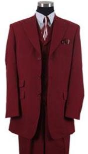 Peak Collared 3 ~ Three Piece Vested Ticket Pocket Wide Leg 22 Inch Suit Pants Wedding Burgundy/Maroon Prom Outfit