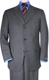 ID# ZT3k Three buttons Vested  3 ~ Three Piece Superior fabric 150's Wool fabric Feel Man Made Fiber~Rayon Basic Solid Plain Dark Charcoal Masculine color Gray Suits for Men
