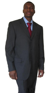 ID# YAK241 UMO Collezion Three buttons Heather Dark Charcoal Masculine color GRAY Superior fabric 150S WOOL~SUIT