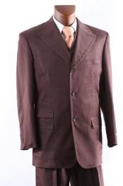ID#DGB367 Superior fabric 150's Single Breasted Three Button Cocoa 3 ~ Three Piece Vested Suit with Peak Collared