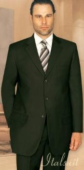 ID#UQ1005 Unique 2PC Three buttons Basic Solid Plain Dark Olive Green Cheap Priced Fitted Tapered cut Suit With Flat Front Pants