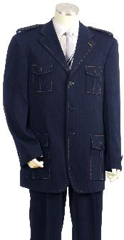 Luxurious Three buttons Navy Safari Military Style Zoot Suit - Dark Blue Suit Color