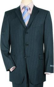 Navy Pinstripe Three button